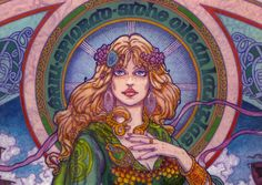 ÉRIU:  Shí-spirit of the Emerald Isle. Unpublished work. Detail. By Jim FitzPatrick. (Click to view large image.)