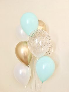 Mint Chrome Gold Pearl White & Clear Gold Confetti Latex Balloon~First Birthday~Wedding~Bridal Shower~Confetti Look Balloon~Bachelorette