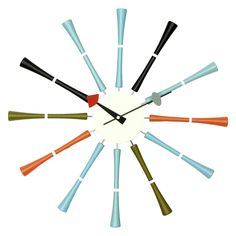 George Nelson Multicolor Spindle 20 in. Wall Clock | from hayneedle.com