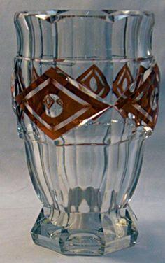 Val Saint Lambert orange crystal vase. Joseph Simon. 1939 Kipling