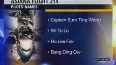 """""""KTVU Reports Asiana Air Pilots Were """"Sum Ting Wong"""" and """"Ho Lee Fuk"""""""""""