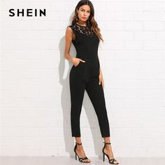 d45ccb7752 SHEIN Guipure Lace Yoke Solid Jumpsuit 2018 Plain Black Round Neck  Sleeveless Button Pocket Clothing Women