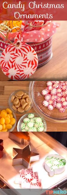 Candy Christmas Ornament How-To   Turn your favorite holiday candies - peppermints, butterscotchs, caramels and more! - into edible ornaments. Great as gifts, decorating, or as an easy craft project to do with kids. Click to watch the video how-to.