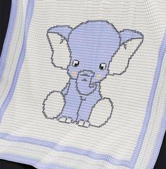 Afghans CROCHET - Baby Blanket / Afghan - Blue Elephant Crochet pattern by Pattern World - Baby Afghan Patterns, Crochet Blanket Patterns, Baby Blanket Crochet, Crochet Baby, Crochet Blankets, Baby Blankets, Crochet Afghans, Baby Afghans, Crochet Elephant
