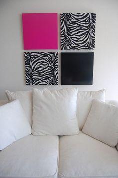 Zebra decor-girls bedroom (fabric over bulletin board)  -  for the girls room