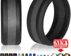 Personalized Silicone Ring Gift For Him Anniversary Husband Black Rubber Wedding Band Men S Custom Man