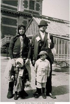 Immigrant family at Ellis Island.