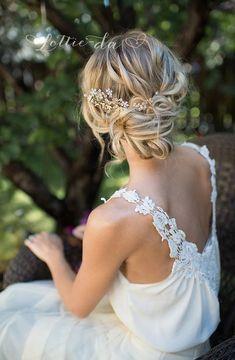 Gold Boho Flower Leaf Hair Vine Bridal Hair by LottieDaDesigns