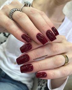 Nail Designs nail designs for fall nail designs for summer g Fall Toe Nails, Summer Gel Nails, Cute Acrylic Nails, Cute Nails, Pretty Nails, Shellac Nails, Red Nails, Nail Polish, Burgundy Nails