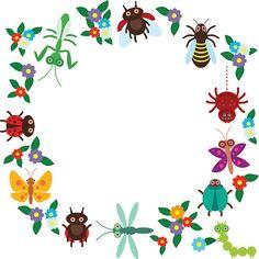 Engraçado insetos-aranha dragonfly-a-deus beetle Vespa ladybugs - ilustração de arte em vetor
