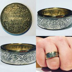 Coin Jewelry, Jewelry Rings, Jewelery, Coin Art, Coin Ring, Diy Rings, Metals, Wedding Bands, Rings For Men
