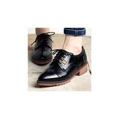 Faux Leather Pointy Oxfords (70 AUD) ❤ liked on Polyvore featuring shoes, oxfords, footware, platform oxfords, vegan shoes, black platform oxfords, black oxford shoes and vegan oxfords