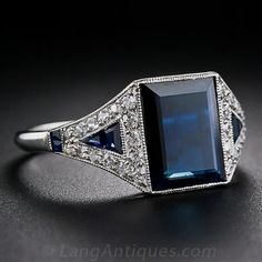 Art Deco Sapphire and Diamond Ring - 30-1-5163 - Lang Antiques #VintageJewelry