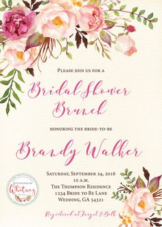 This rustic floral 5 x 7 invitation is sure to be a hit for any bridal or baby…