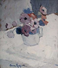 Anne Redpath 1895 - 1965 Anemones, c signed lower left 'Anne Redpath' oil on panel 20 3/4 x 16 3/4 inches