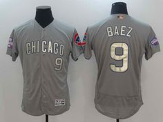 $22 Men's Chicago Cubs #9 Javier Baez Majestic Grey 2017 Gold Program Flex Base Stitched Jersey