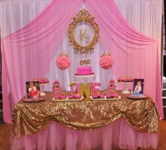 Princess Glitz Pink & Gold Birthday Party Ideas | Photo 1 of 13 | Catch My Party