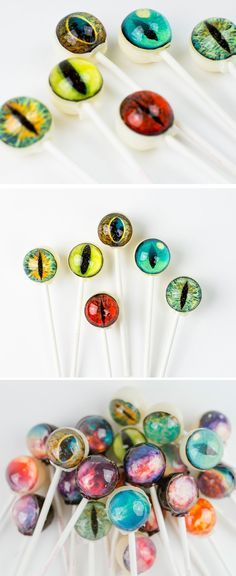 I spy w/ my creature eye...  delicious Unique lollipops from folks at Vintage Confections - Featuring assortment of eyeball types/colors - (for purchase- Pic only?)