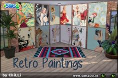 The Sims Resource: Retro Paintings1 by ChiLLi • Sims 4 Downloads