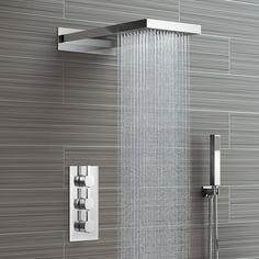 Waterfall & Rainfall Shower Head & Thermostatic Mixer - 3 Way Soak Bathroom Shower Heads, Tiny House Bathroom, Bathroom Design Small, Shower Faucet, Bathroom Interior Design, Modern Bathroom, Master Bathroom, Cool Shower Heads, Modern Shower Heads