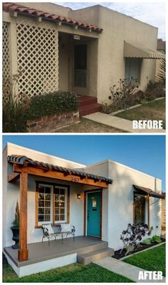 Before and After: A Sweet Spanish Bungalow by the Beach – Home Renovation Spanish Bungalow, Spanish Style Homes, Spanish House, Spanish Revival, Spanish Colonial, Spanish Exterior, Home Exterior Makeover, Exterior Remodel, Bungalows