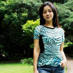 女超顯瘦彈性短袖衫nammu 水波綠