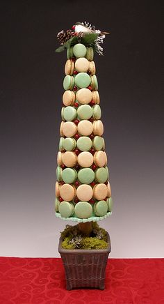 Woodland French Macaron Topiary      Want to make an elegantly edible centerpiece for your holiday party this year? Here's a little twist on the classic French macaron tower...a woodland themed macaron topiary, baking 911 style!  Step-by-step recipes and tutorial at   www.baking911.com