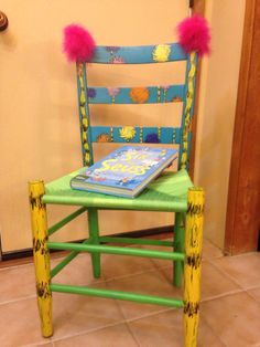 Dr Suess's Truffula Trees chair Hand Painted Chairs, Funky Painted Furniture, Kids Furniture, Dr Seuss Chairs, Classroom Themes, Classroom Displays, Future Classroom, Dr. Suess, Teacher Chairs