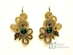 Soutache Earrings Gold tone Statement soutache by YGSoutache