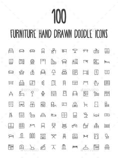 100 Furniture Hand Drawn Doodle Icon