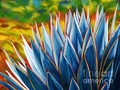 Impressionist style of a blue agave cactus in a desert garden. See more on FAA.
