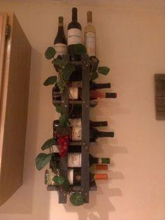 Great Homemade Wine Rack. Cost Fifteen Dollars. Holds Twelve Bottles.
