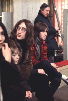 John Lennon with Yoko Ono, Eric Clapton and Julian Lennon at the Rolling Stones Rock and Roll Circus, London, 11 Dec. 1968