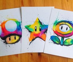 Super Mario Power-Ups art created by Lisa-Marie Melin