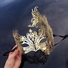 New Beautiful Gold Venetian Laser Cut Masquerade Mask With Diamond... ($22) ❤ liked on Polyvore featuring home, home decor, grey, home & living, home décor, ornaments & accents, grey home decor, inspirational home decor, diamond home decor and gold home accessories