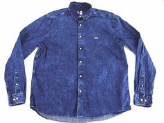 LACOSTE LIVE distressed style ACID WASH denim shirt mens 45 button up chambray