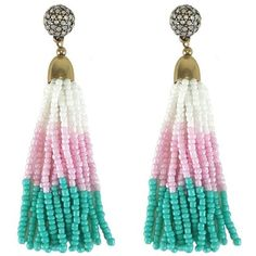 Pre-owned White, Pink, & Teal Beaded Tassel Earrings ($30) ❤ liked on Polyvore featuring jewelry, earrings, white, pink jewelry, white earrings, preowned jewelry, teal blue earrings and white jewelry