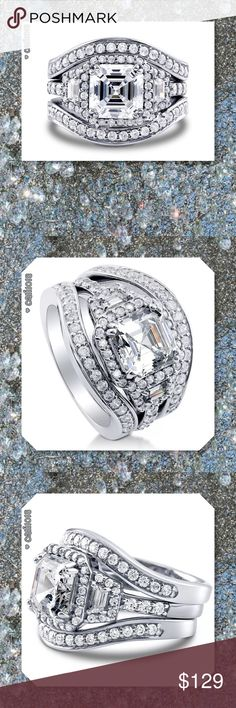 JUST IN🆕 8ct Diamonique 14k White GF 3 in 1 Set Vintage 8mm Diamonique Cz 14KT White Gold Filled 3-in-1 Wedding Ring Set Material:14kt white gold filled (stamp 14kt) 