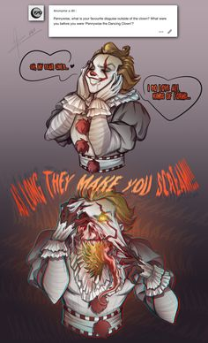 Horror Movies Funny, Horror Movie Characters, Horror Films, Scary Movies, Horror Art, Clown Horror, Dark Comics, It The Clown Movie, Pennywise The Dancing Clown