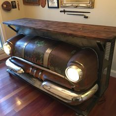 Turning this old Pontiac into a sweet car bar! Did a little something different and burnt the top slightly with a torch then used a a dark… Car Part Furniture, Automotive Furniture, Automotive Decor, Johnny Be Good, Mobile Coffee Shop, Red Truck Decor, Car Bar, Antique House, Welding Art