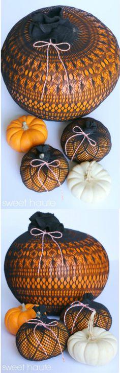 DIY Stocking covered pumpkins- SWEET HAUTE Halloween Decor Last Minute Easy…