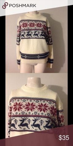 """Vintage Nordic Snow Reindeer Christmas Sweater M Nice vintage holiday sweater! Off white with maroon and blue reindeer theme. Marked size Medium (mens) - would fit women's medium/large. Nice condition. Chest 40"""" Length 24"""" Vintage Sweaters"""
