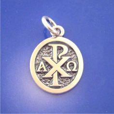 Chi Rho Oval Pendant - 14K & Sterling Silver (labarum)