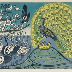 Love this by #edwardbawden  Maggie and the peacock from Aesop's fables..