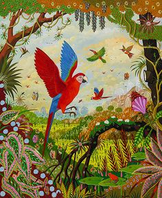 Ara chloroptère en vol, flying Ara, by Alain Thomas Alain Thomas, Bird Drawings, Drawing Birds, Henri Rousseau, Tropical Art, Z Arts, Paintings I Love, Naive Art, Craft Activities