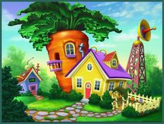 If your kids like fun animal games and jigsaw puzzles, they will LOVE this puzzle filled with cute pictures! This educational app for kids. Cute Cottage, Cottage Art, Animation Background, Art Background, Orla Infantil, Storybook Cottage, Puzzle Art, Cartoon Drawings, Painting Inspiration