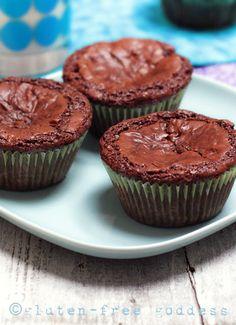 Chocolaty little beauties. Gluten-Free Fudgy Brownie Cupcakes. #glutenfree