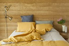 Mustard, navy and grey bed linen from Scottie Store