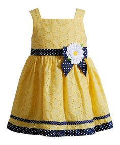 Another great find on Youngland Yellow & Navy Daisy Dress - Infant, Toddler & Girls by Youngland Frocks For Girls, Little Dresses, Little Girl Dresses, Girls Dresses, Flowery Dresses, Baby Frocks Designs, Kids Frocks Design, Toddler Dress, Baby Dress