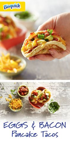 These savory breakfast tacos are the perfect way to start your day. They come to life with fun and fresh toppings. Breakfast Tacos, Savory Breakfast, Breakfast Ideas, Breakfast Recipes, Pita Pockets, Pancakes And Bacon, Slimming Eats, Tacos And Burritos, Mille Crepe